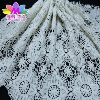 新款全棉水溶蕾丝面料 蕾丝绣花服装辅料 白色刺绣面料打板定制