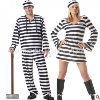 万圣节条纹情侣囚犯服装 狂欢派对服女囚犯 僵尸装 吸血鬼 舞台装