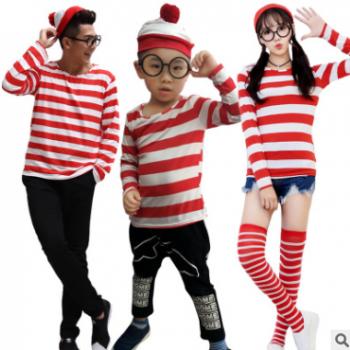 沃里 Where's Wally 男款情侣服影楼艺术照全家福儿童条纹圣诞装