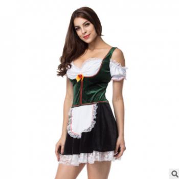 新款实拍加大码万圣节啤酒女郎连衣裙塑身舞台演出服装女佣服装