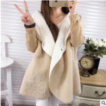 毛衣秋冬装新款大码加厚羊羔绒保暖中长款开衫毛衣女外套批发