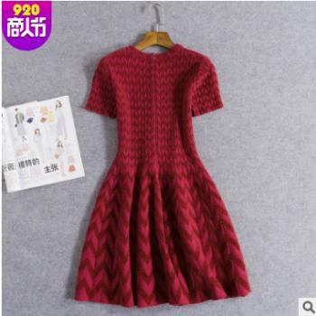 春装新款女士毛衣收腰提花蓬蓬裙短袖针织女装连衣裙