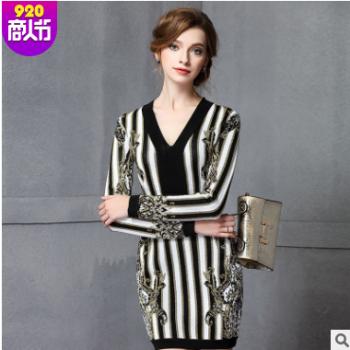 天天美2017年新款连衣裙V领针织衫女装 欧美春季新款条纹针织衫