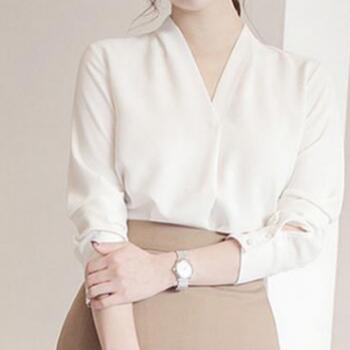 2018春秋季新款韩版纯色雪纺衬衫女韩范V领长袖宽松衬衣女装