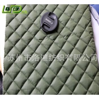 尼丝纺菱形格子绗缝棉服面料包包面料压光涂层抗撕裂