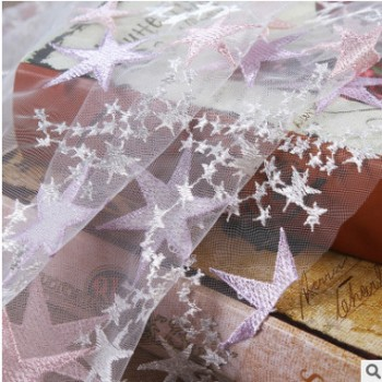 新品 星星蕾丝绣花面料 时尚女装桌布窗帘灯罩 全涤绣花布料