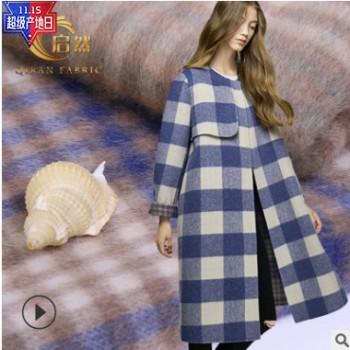 厂家直销 爆款格子毛呢双面呢秋冬经典欧美风大衣外套 现货供应