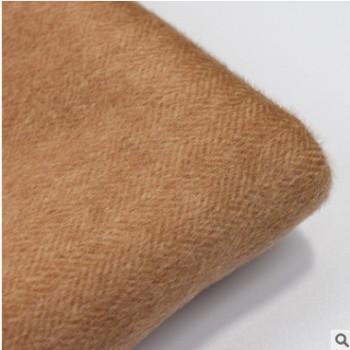 厂家直销 880g全毛小人字双面呢 羊绒大衣棉服时装粗纺毛呢面料