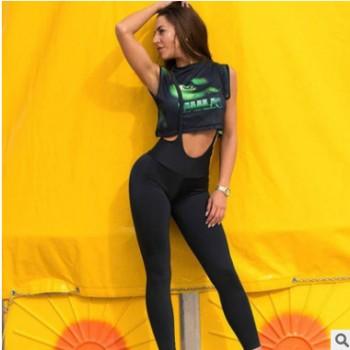 亚马逊爆欧美春夏初恋裤吊带纯色瑜伽运动打底裤紧身健身裤提臀裤