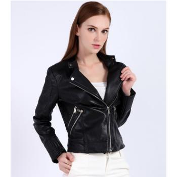 2018秋季定做新款pu机车女装皮衣短款修身大码短外套小皮夹克