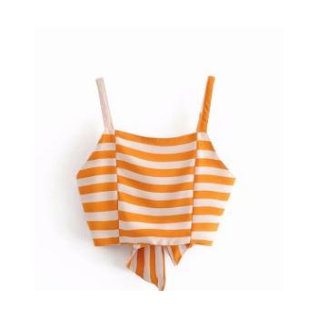 欧美夏季2018新品休闲时尚修身系带露背超短款条纹女款小上衣