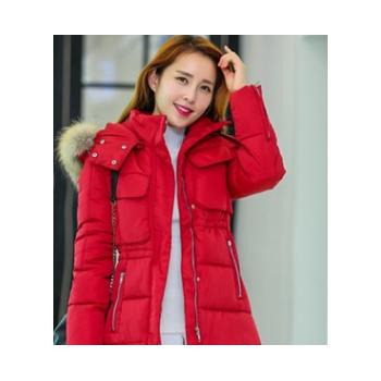 2016冬季新款棉衣女韩版修身保暖时尚大毛领中长款羽绒服厂家直发