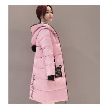 2018新品羽绒棉衣女装长款过膝贴标连帽毛领棉服加厚保暖外套批发