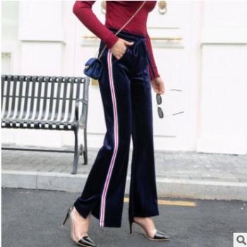 秋冬新款韩国高端美丽贵妃绒侧边条运动显瘦拉身高阔腿大摆喇叭裤
