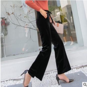 秋冬新款韩国高端美丽贵妃绒欧美风气质显瘦拉身高阔腿大摆喇叭裤