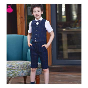 男童礼服马甲男孩套装花童主持人儿童马夹西装表演大童钢琴演出服