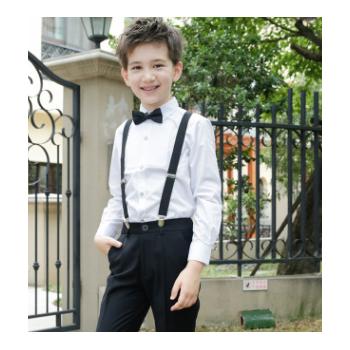 儿童礼服套装小男孩主持人花童背带裤男童表演钢琴大合唱演出服装
