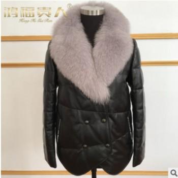 2017冬装皮羽绒女装新款真皮休闲皮衣气质女式外套短款皮衣羽绒