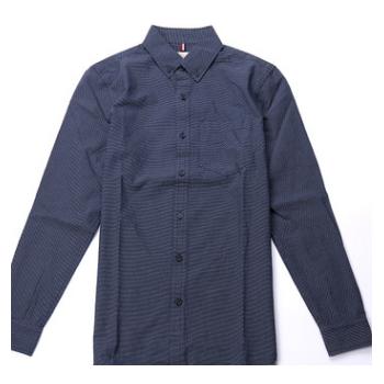 2018春夏新品男士衬杉 圆点直条纹纯棉时尚长袖修身商务衬衫