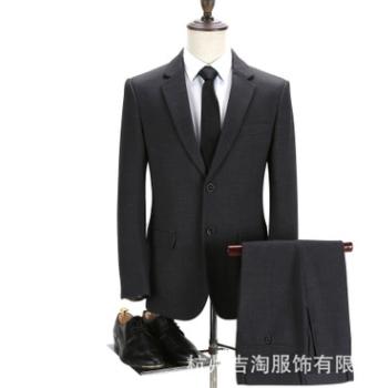 西服套装 灰暗格秋冬韩版修身男女组合职业套装工作服LY-698