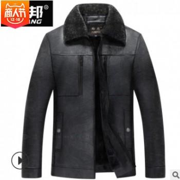 2018年新款男装中年PU皮衣商务休闲冬季加棉加厚男士厂家直销皮衣