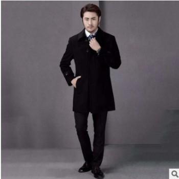 加工定制黑色顺毛韩版修身时尚职业装大衣 休闲青年男中长款大衣
