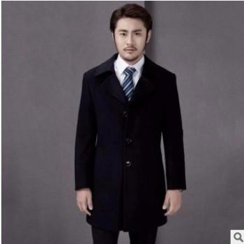 修身男装韩版藏青色顺毛单排扣纯色大衣 翻领潮流职业装大衣定制