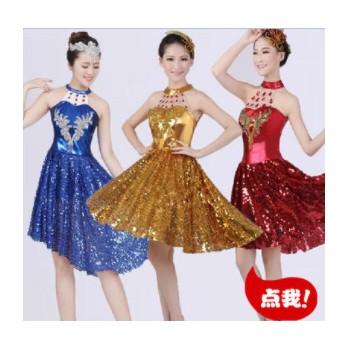 开场舞裙伴舞服现代舞亮片演出服装成人舞台表演服饰舞蹈裙