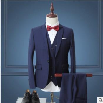 西服三件套装男加肥加大码商务职业修身西装伴郎新郎结婚礼服外套