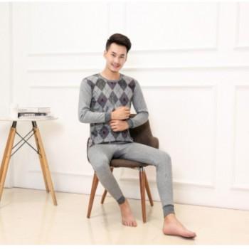 2018新款仿全棉薄款男士保暖内衣套装秋衣秋裤男贴牌加工一件代发