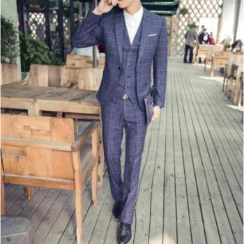 男式格子西服套装男士新郎结婚礼服修身伴郎服英伦西装定制批发