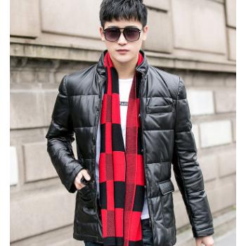 冬季新款男士绵羊皮真皮保暖皮羽绒服休闲鸭绒真皮皮外套一件代发