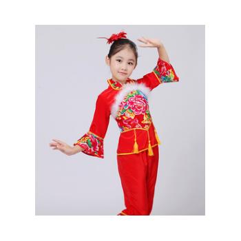 东北大花布儿童秧歌服装元旦舞台装民族服装扇子腰鼓舞蹈演出服