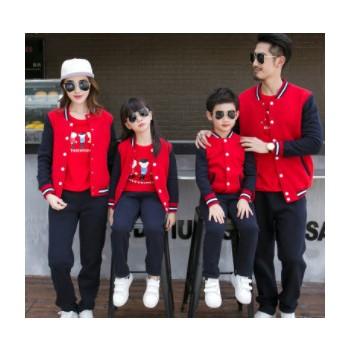 春秋装校服定做 2018新款家庭装棒球服运动套装幼儿园园服亲子装