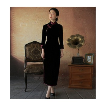 丝绒旗袍 秋季妈妈裙中式茶人服 立领七分袖长款婚宴晚礼服