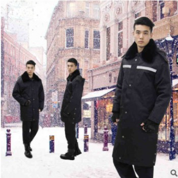 男式仿貂毛冬季棉大衣全棉毛领中长款安管制服广州服装定做加工