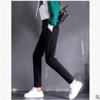 (A13)2018冬季加绒加厚羊羔绒运动裤女直筒宽松休闲裤保暖卫裤