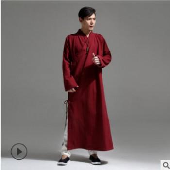 麻凡布衣18新品中国风汉服长款 棉麻男装 男汉服加长版茶禅服