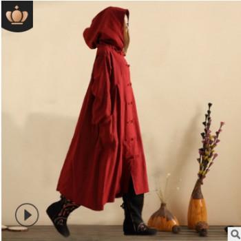 麻凡复古棉麻上衣 盘扣手工民族风外套女式长款风衣女巫衣上装