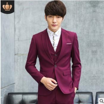 新款西装男士西服套装男潮韩版定制大学生正装工作服结婚一件代发