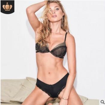 文胸套装新品 PINK内衣女性软钢圈花边性感聚拢调整型收副乳胸罩