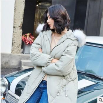大毛领反季羽绒服女中长款2018冬季新款女款时尚连帽外套一件代发