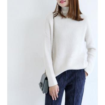 韩版羊绒衫女高领毛衣宽松慵懒打底衫秋冬款加厚中长款一件代发