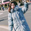 实拍chic韩版新款蓝色金丝绒长款面包服连帽仿真大毛领棉服外套女