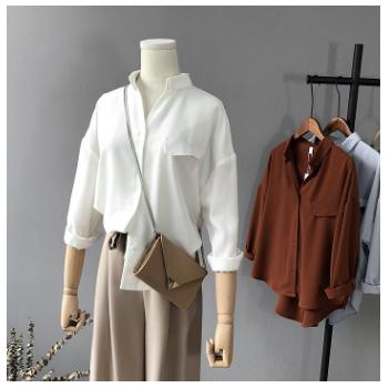 芷苁夕2018秋季新款韩国女装纯色V领长袖女式衬衫女雪纺衫1109