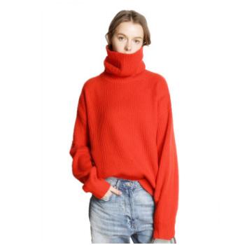 网红毛衣女秋冬新款高领羊绒衫加厚套头宽松慵懒风针织打底毛衫潮