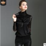 欧美纯色打底衫女2018秋冬新品女装黑色大码高领小衫宽松外穿上衣