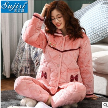 秋冬季女士睡衣加厚法兰绒夹棉 女开衫长袖家居服冬天棉袄套装