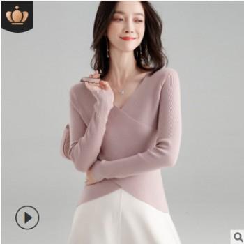 衫蝶季2018秋冬款针织衫chic韩版女装羊毛打底衫气质小心机上衣女