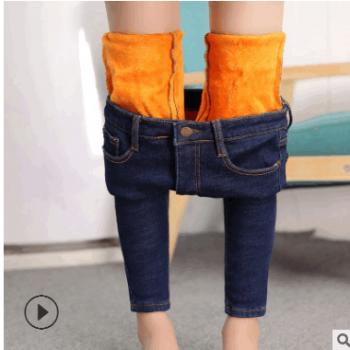 冬季加绒牛仔裤女高腰加厚保暖韩版弹力显瘦小脚铅笔裤子2018新款